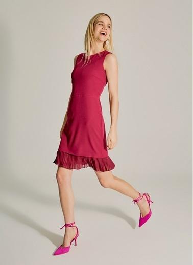 NGSTYLE Essentials - Pilise Detaylı Mini Elbise Mürdüm